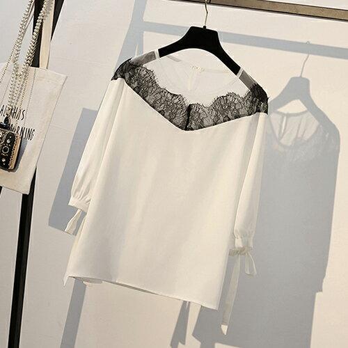 *ORead*韓版大碼顯瘦拼接雪紡衫(3色XL~5XL) 0