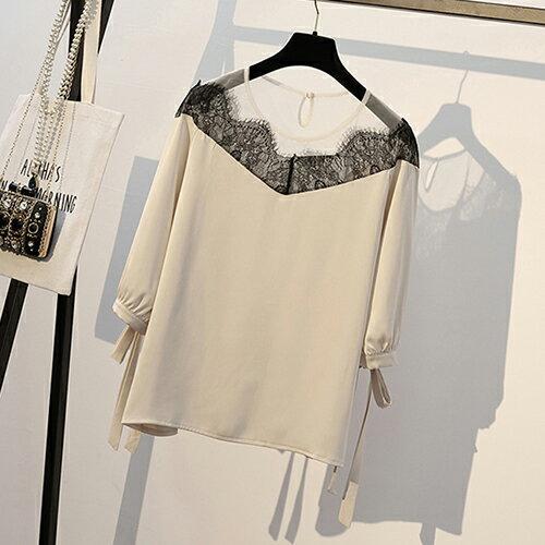 *ORead*韓版大碼顯瘦拼接雪紡衫(3色XL~5XL) 2