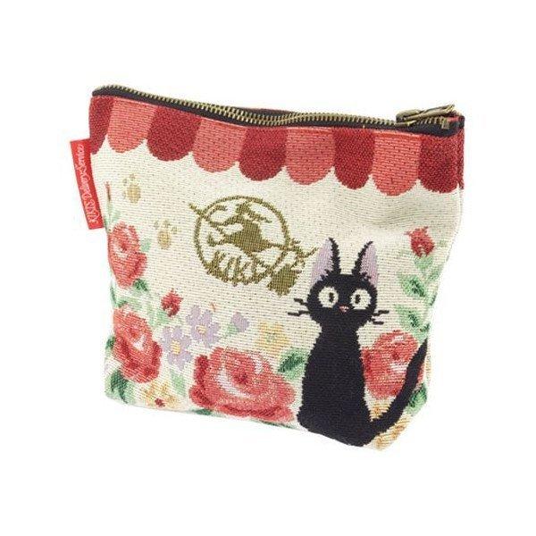 【真愛日本】15012900010 戈布蘭織化妝包-jiji玫瑰軒下 魔女宅急便 黑貓 奇奇貓 收納包 正品