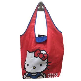 【真愛日本】17041700048 環保收納提袋-KT坐姿紅 三麗鷗 Hello Kitty 凱蒂貓 旅行袋 購物袋