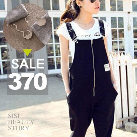 SISI【J5002】率性調調 休閒純色拉鍊螺紋棉哈倫吊帶連身長褲