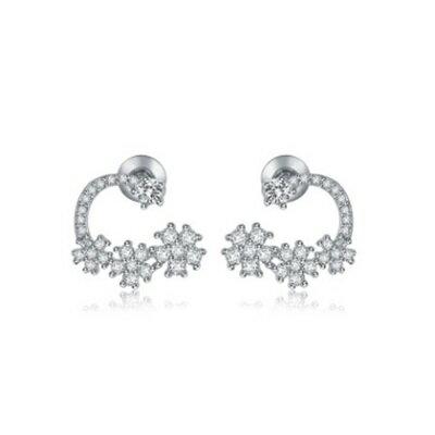 純銀耳環鍍白金鑲鑽耳飾~  精緻生日七夕情人節 女飾品73cr358~ ~~米蘭 ~