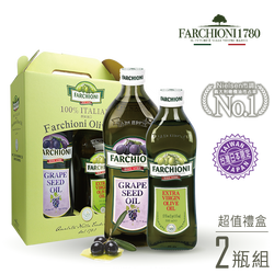 【金豬禮盒】法奇歐尼義大利莊園葡萄籽油1000ml+經典特級冷壓初榨橄欖油500ml