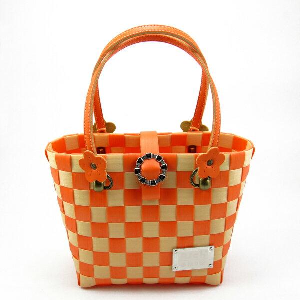 亮麗輕巧包-桔色(材料包)-松紋帶+珍珠帶