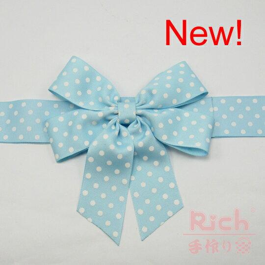 New!【蝴蝶結】粉藍色點點