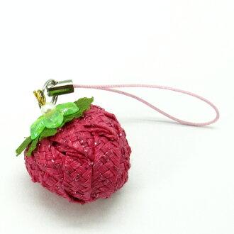 草莓吊飾-布感織帶 (B3金蔥/材料包)