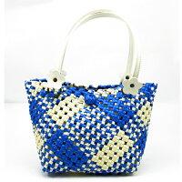 田字編包-藍色+米色【材料包】強韌型珍珠帶 0