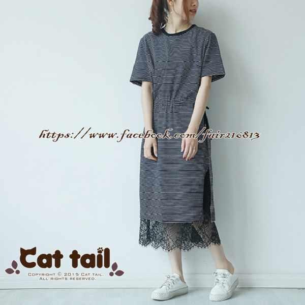 《貓尾巴》LZ-03184小清新學院風條紋短袖連身裙(森林系日系棉麻文青清新)