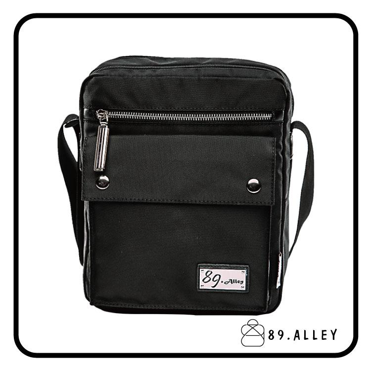 側背包 女包男包 黑色系防水包 輕量尼龍直式雙層情侶斜背包 89.Alley