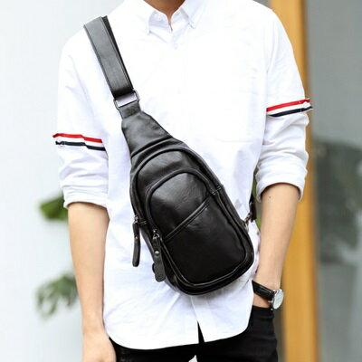 胸包皮革肩背包-時尚有型街頭潮流男包包2色73rv25【獨家進口】【米蘭精品】
