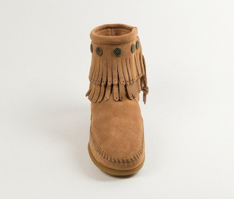 【Minnetonka 莫卡辛】土黃色 - 雙層麂皮流蘇踝靴 4