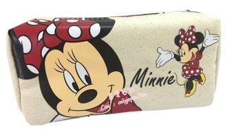 【真愛日本】16080400004長四方帆布筆袋-米妮  迪士尼 米老鼠米奇 米妮  鉛筆盒 收納 筆袋
