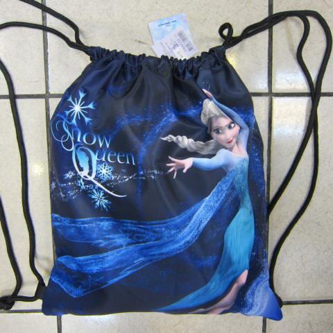~雪黛屋~冰雪奇緣 束口後背包大容量可放A4資料夾防水尼龍布材質隨身包Disney正版限量授權品 FN3C02 深藍
