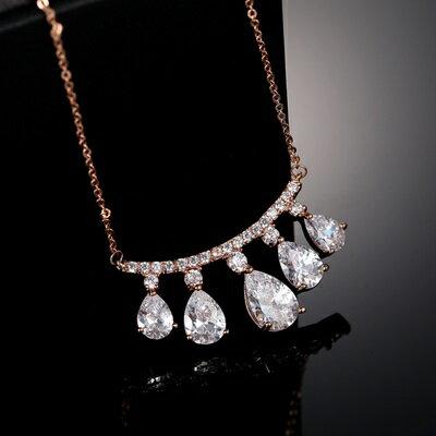 純銀項鍊 鍍18K金鑲鑽吊墜~亮眼吸晴璀璨情人節生日 女飾品73dn77~ ~~米蘭 ~