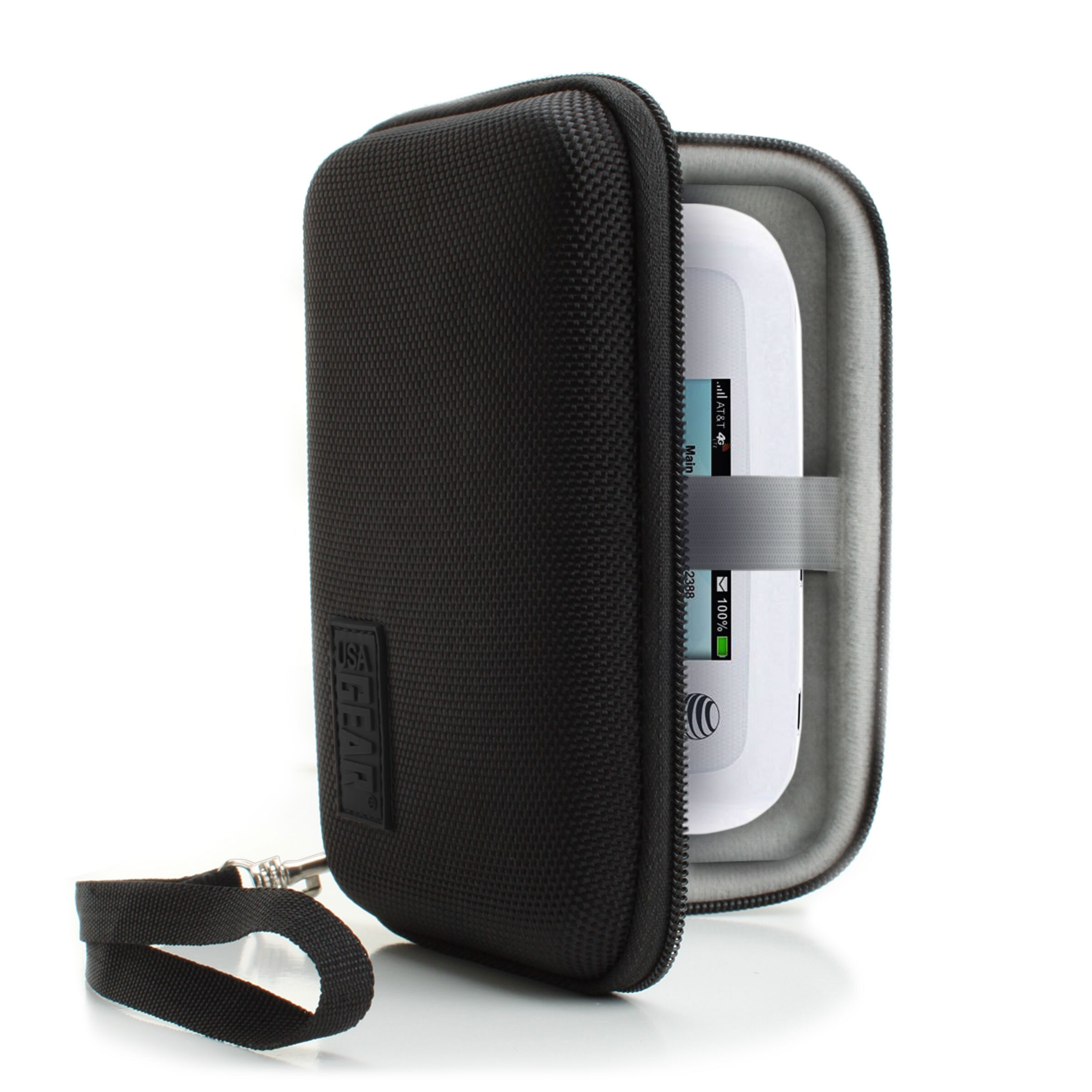 USA Gear Portable WiFi Hotspot Carrying Case with Wrist Strap - Compatible  w/ 4G LTE Wi-Fi Mobile Hotspots from AT&T, Verizon, Sprint, T-Mobile,