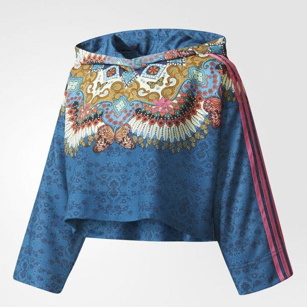 ADIDASBORBOMIX女裝長袖短版民族風七分袖休閒舒適透氣藍粉【運動世界】BR5140