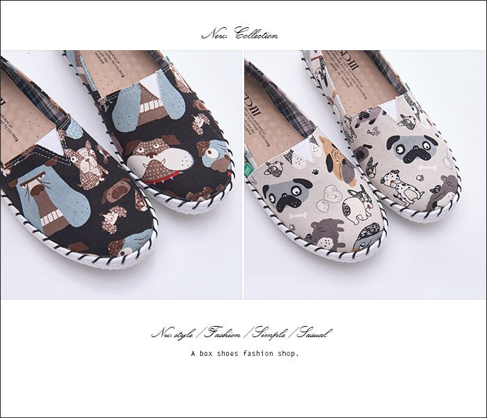 格子舖*【KW138】MIT台灣製 趣味可愛塗鴉圖案 乳膠舒適鞋墊 V口鬆緊懶人鞋 圓頭包鞋 2色 2