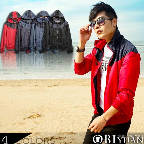 風衣外套 【ST1036】OBI YUAN韓風型男嚴選騎士風撞色拼接透氣蜂窩內裡連帽外套/共4色