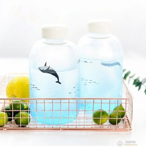 【冰山極地漸層玻璃瓶】日系 可愛卡通 咖啡杯 水壺杯子 檸檬水瓶 水壺 保溫瓶 高硼矽玻璃瓶 水瓶 飲料杯 隨身杯【狂麥市集】