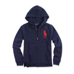 美國百分百【全新真品】Ralph Lauren 外套 RL polo 大馬 連帽 夾克 深藍 紅馬 男 XS號 青年版 I479