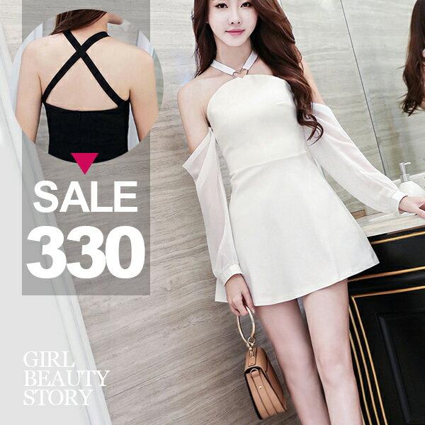 SISI【D8064】性感迷人愛心鐵環裝飾露背交叉露肩長袖袖套(可拆卸)修身連身短裙洋裝