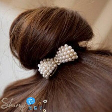 ~1/2-1/31 全店滿500折50【DJB1215】shiny藍格子-小珍珠蝴蝶結造型髮圈