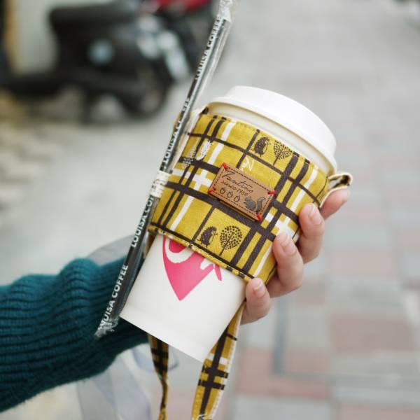 【FANTINO】雙層隔熱環保飲料提袋  杯套 杯袋 手搖杯套 咖啡杯套 ( 格紋街區) 芥末黃1769942
