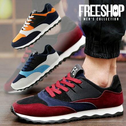休閒鞋 Free Shop~QTJXD02~日韓系撞色拼接 剪裁彈力舒適綁帶 氣墊休閒鞋慢