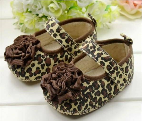 女寶寶學步鞋軟底嬰兒花童鞋-豹紋花朵款