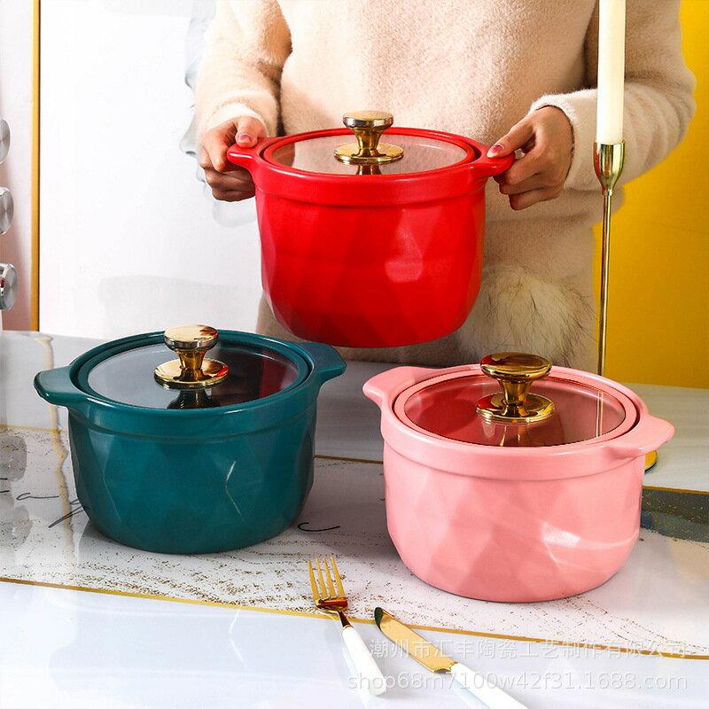 北歐砂鍋家用色釉燃氣明火燉鍋陶瓷鍋燉湯創意煲湯雙耳小