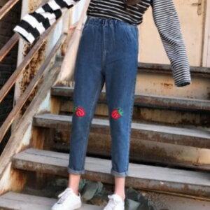 美麗大街~KA215~韓國復古刺繡圖案牛仔褲女 高腰寬鬆顯瘦洗水九分哈倫褲