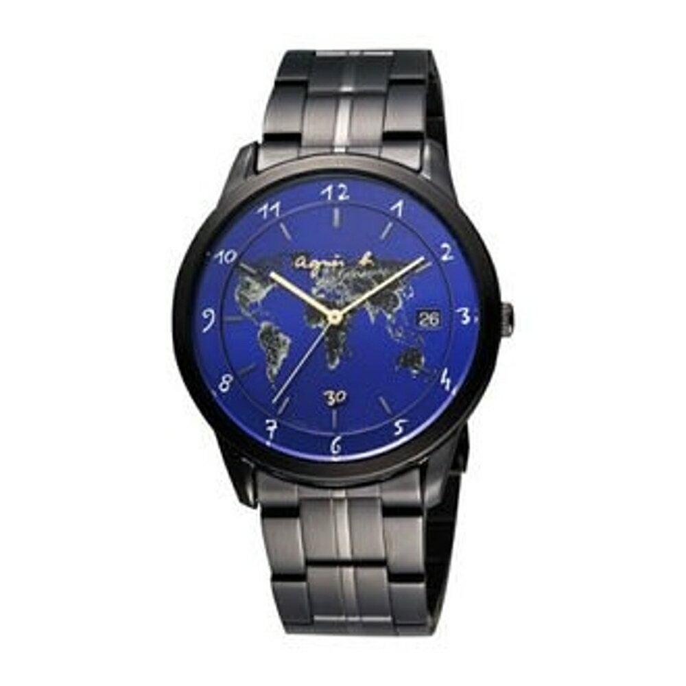 agnes b 地球時尚腕錶/藍面VJ52-00B0A(BP9008J11)40mm