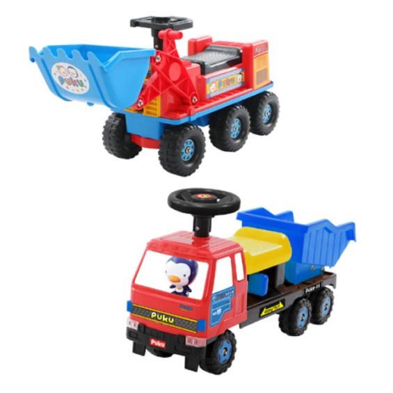 麗嬰兒童玩具館~藍色企鵝puku-寶貝騎乘工程車-堆土機 / 砂石車 腳行車助步車 0