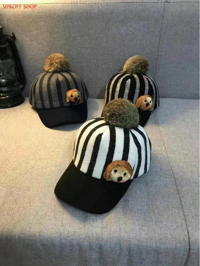 <br/><br/>  50%OFF SHOP毛呢條紋保暖兔毛球棒球帽【C032898H】<br/><br/>