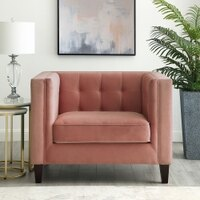 Deals on Kenn Velvet Tufted Club Chair Square Arms