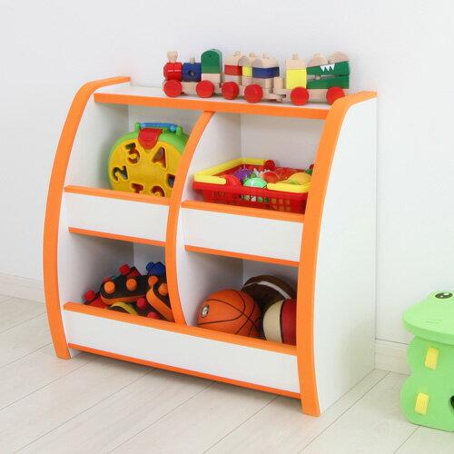 日本直輸/書櫃/收納櫃 TZUMii 小木偶四格收納櫃-橘白