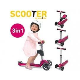 【淘氣寶寶*預購5月初】【英國 smarTrike - scooter】都會 3 in 1 成長型三輪滑板車-粉【原廠公司貨】