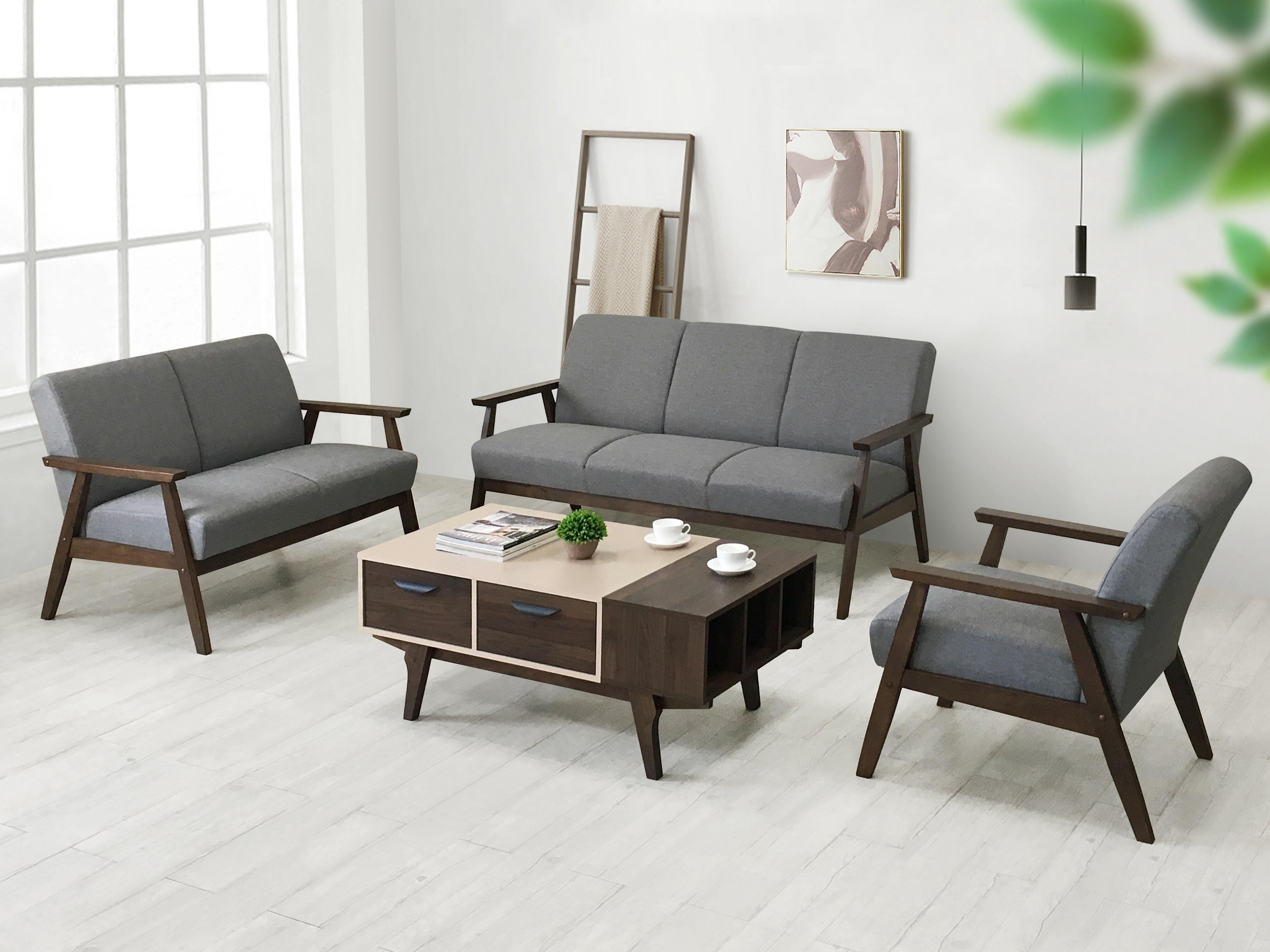 《波頓》  三人座沙發 快速出貨 WFH 在家工作 三人沙發 木製沙發 布沙發 三人座 三人位 亞麻布 木扶手 橡膠木 現代 簡約 【新生活家具】