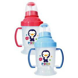 PUKU藍色企鵝 - 奶嘴+訓練吸管練習杯(摺疊握把) 240cc (水藍/粉紅) 0