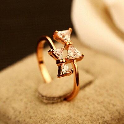 ~玫瑰金戒指~鑲鑽銀飾~優雅精美蝴蝶結 母親節生日情人節 女飾品73by19~ ~~米蘭
