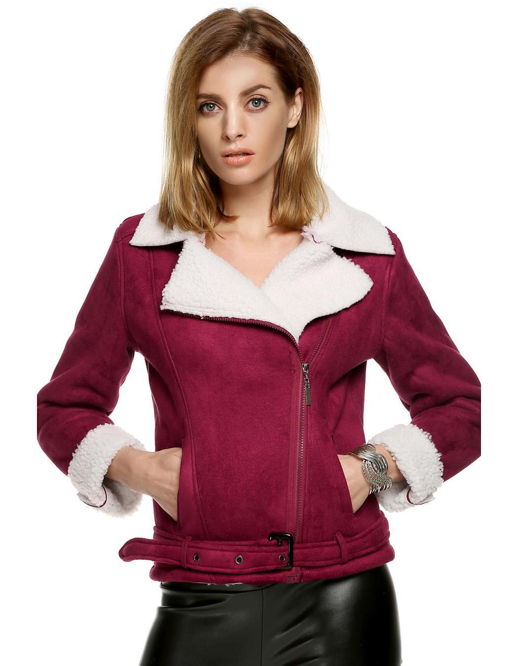 Women Lapel Long Sleeve Solid Fleeve Warm Coat 1