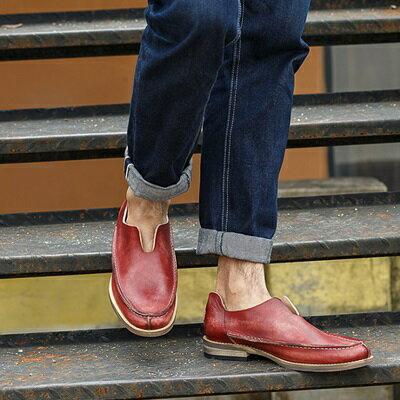 短靴真皮套腳靴子-商務時尚復古懶人男靴2色73kk34【獨家進口】【米蘭精品】
