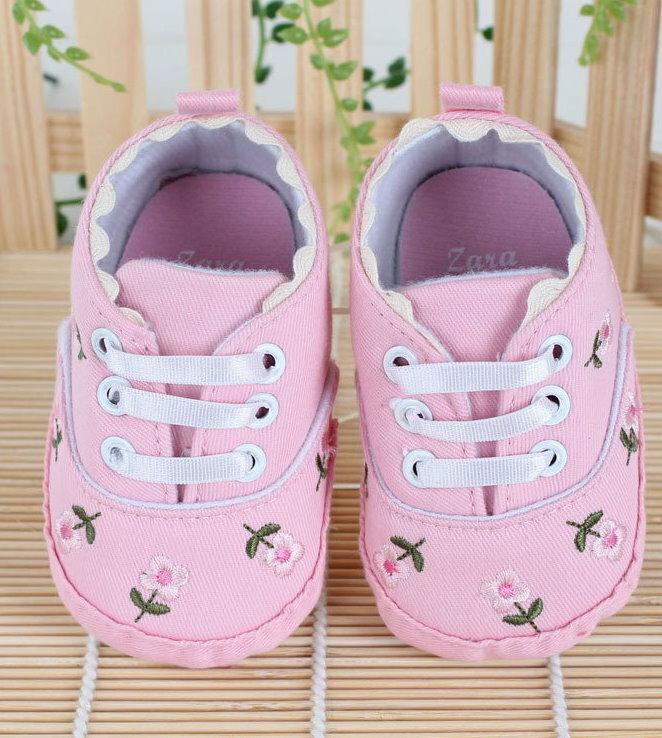 【經典公主鞋】女寶寶學步鞋軟底嬰兒鞋碎花刺繡帆布鞋休閒鞋-粉色