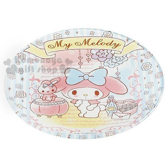 〔小禮堂〕美樂蒂 玻璃蛋糕盤《白.藍條紋.花.兔子.站姿》