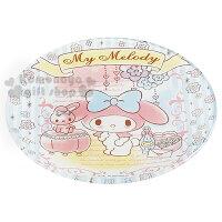 美樂蒂My Melody周邊商品推薦到〔小禮堂〕美樂蒂 玻璃蛋糕盤《白.藍條紋.花.兔子.站姿》