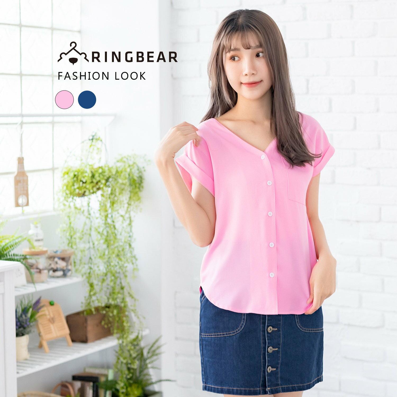 氣質襯衫--典雅性感涼爽口袋寬鬆修身素色V領反摺短袖襯衫(粉.藍L-3L)-H188眼圈熊中大尺碼 0