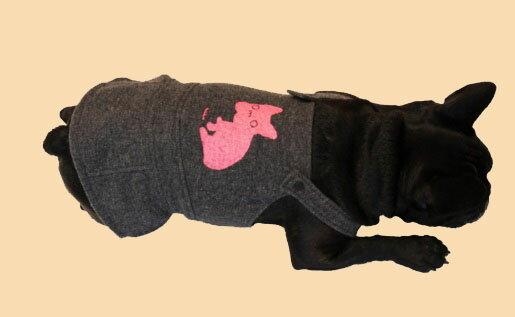 【LOHAS BULL】大特價 日本原裝進口 Bull doss  羊毛 灰色 吊帶裙 粉紅法鬥 尺寸 6 狗衣 犬用衣服