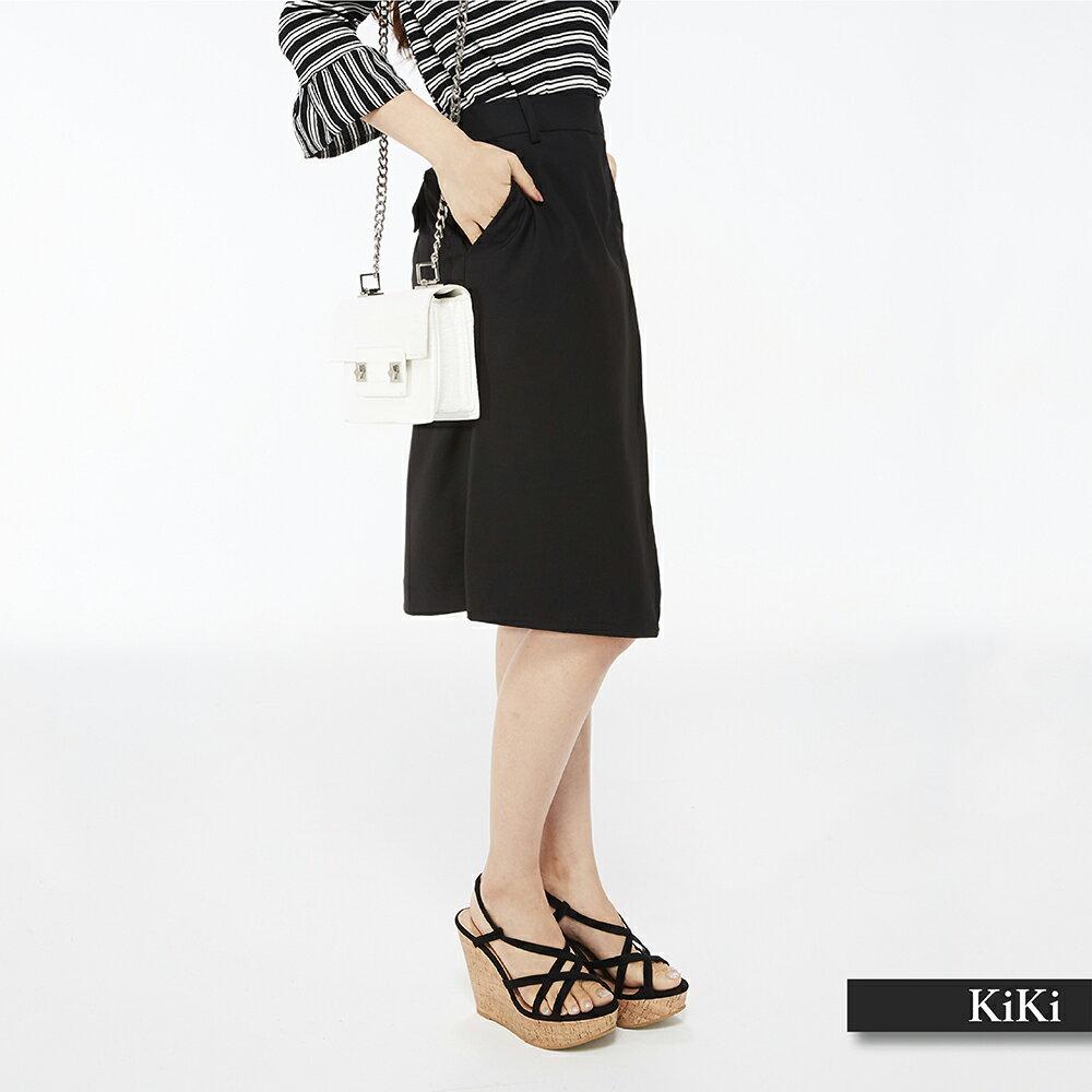 【齊心抗疫零接觸】超值折扣+滿999免運【KiKi】交錯設計款顯瘦及膝-女長裙(藍色/版型適中)