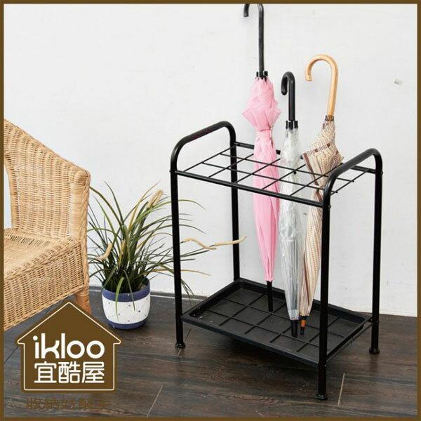 BO雜貨:BO雜貨【YV9063】ikloo~台製烤漆雨傘置物架傘架傘桶水盤可拆裝可收納15把傘收納架
