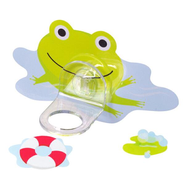 【黏樂趣NELO】多用途卡通造形沐浴固定座架重複貼掛勾組(青蛙)